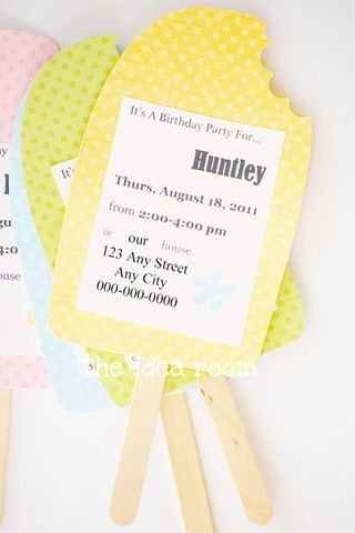 cute popsicle shaped invitations