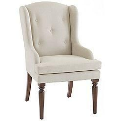 Seating - Lands' End Country Luxe Upholstered Wingback Chair - Mahogany Finis - tufted, wingback, dining, chair