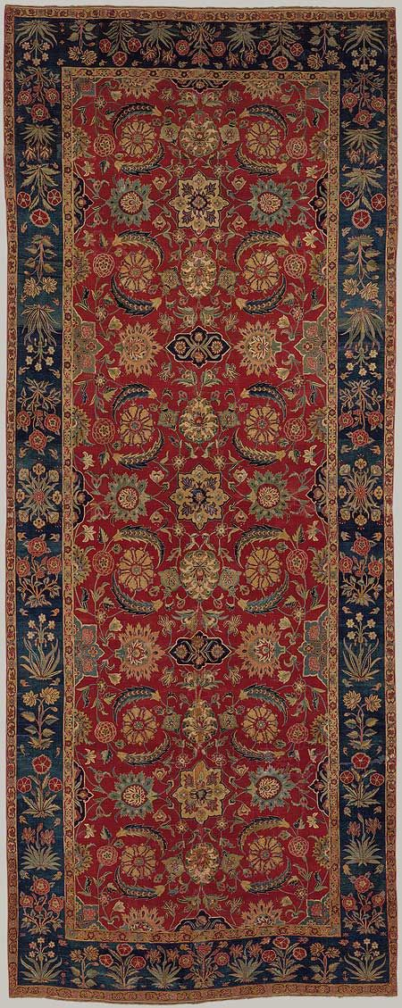 Carpet with scrolling vines and blossoms, Mughal period (1526–1858), ca. 1650 Northern India or Pakistan, Kashmir or Lahore