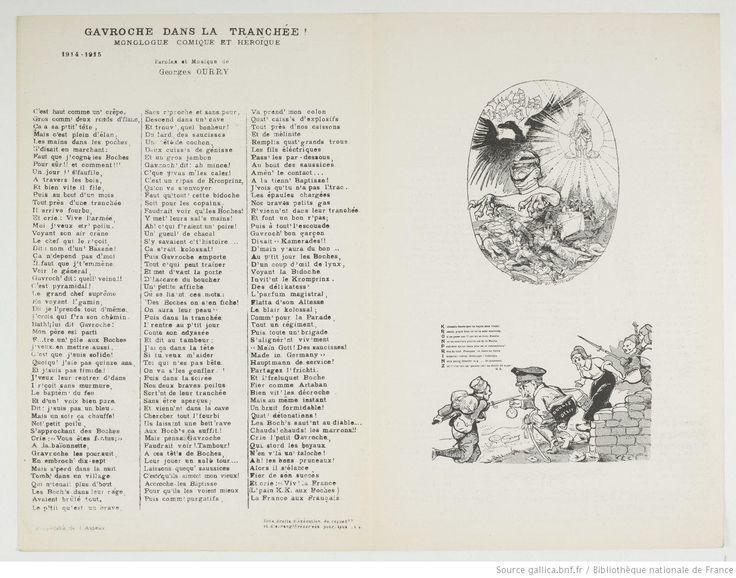 Gavroche dans la tranchée : monologue comique et héroïque : 1914-1915 / paroles et musique de Georges Ourry