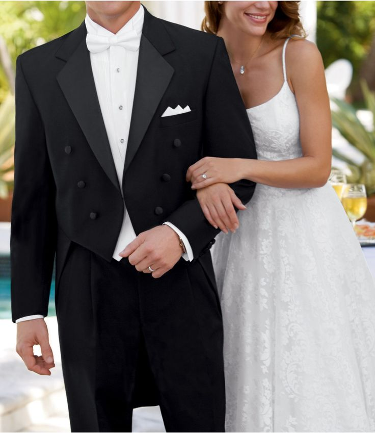 Men's wedding fashion - Black Tails Coat Tuxedo Jacket
