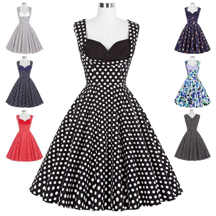 Women's 50s Vintage Style Retro Floral Evening Party Swing Classic A-Line Dress