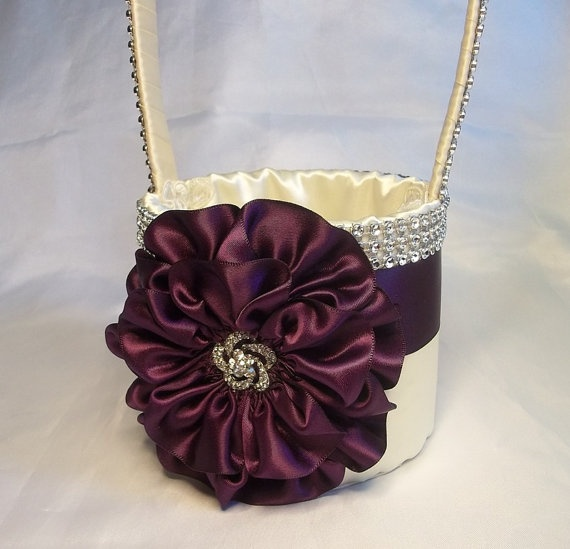Eggplant & Ivory Flower Girl Basket with by AllAHeartDesires, $75.00