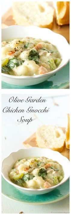 Olive Garden Chicken Gnocchi Soup (copycat) on www.cookingwithruthie.com tastes just like the original! YUM!!