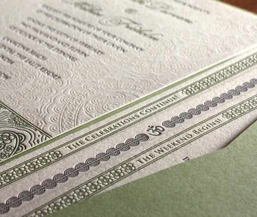 pocket folder for indian letterpress wedding invitation