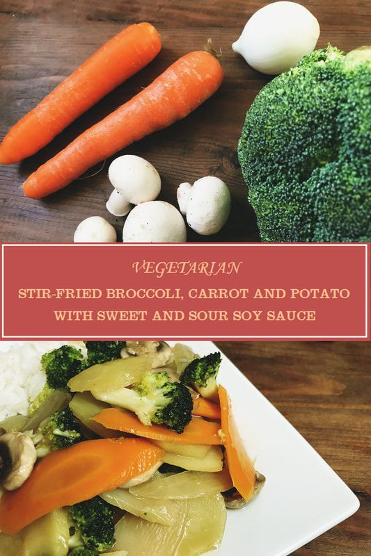 Homemade vegetarian stir-fried broccoli with carrot, potato in sweet and sour soy sauce, a side-dish or main dish just under 20 minutes