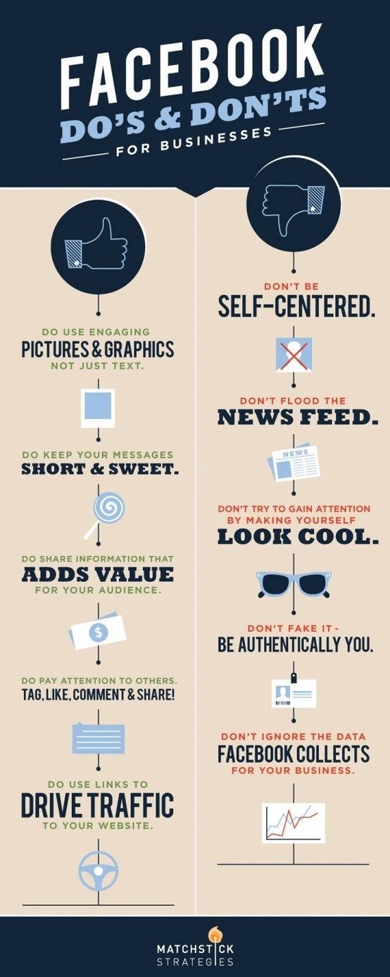 Facebook DO's & DONT's for Businesses #infografia #infographic #socialmedia