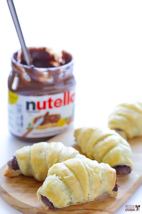 3 Ingredient Nutella Croissants | gimmesomeoven.com #dessert #chocolate