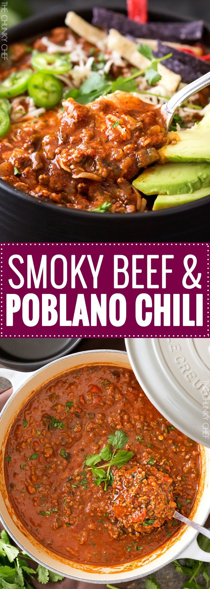 Smoky Beef and Poblano Chili | A hearty beef and poblano pepper chili with just the right amount of heat and spice and full of great smoky flavor! Perfect for a game day meal! | http://thechunkychef.com