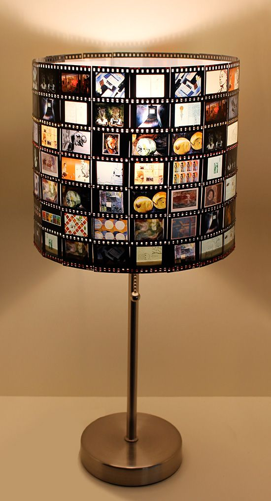 Super cool DIY Slide Film Lamp Shade made from old slides - can even do the same with negatives. Great for the stock pile the parents have stored away in a closet!