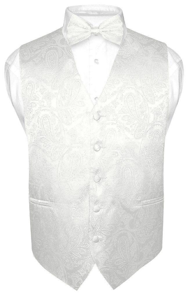 Men's Paisley Design Dress Vest & Bow Tie Off-White Cream BOWTie Set