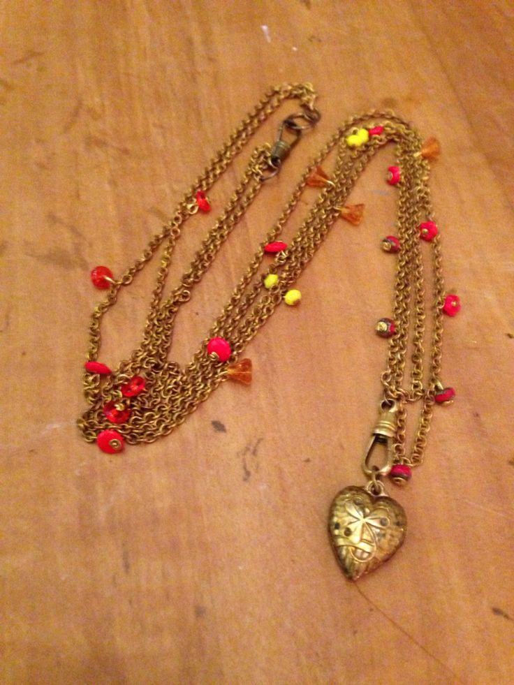 French heart locket on brass chain with tiny glass flowers