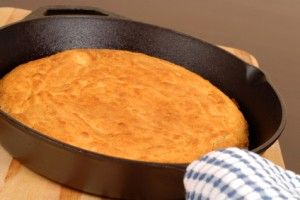 Soul Style Food Corn Bread (in the iron skillet!) - 1/2 cup butter melted, 2/3 cup sugar, 2 eggs beaten, 1/2 tsp baking soda, 1 cup cornmeal, 1 cup flour (I use whole wheat), 1/2 tsp salt,   1 tsp vanilla, 1 cup buttermilk, 1 tbsp vegetable oil -- See link for instructions
