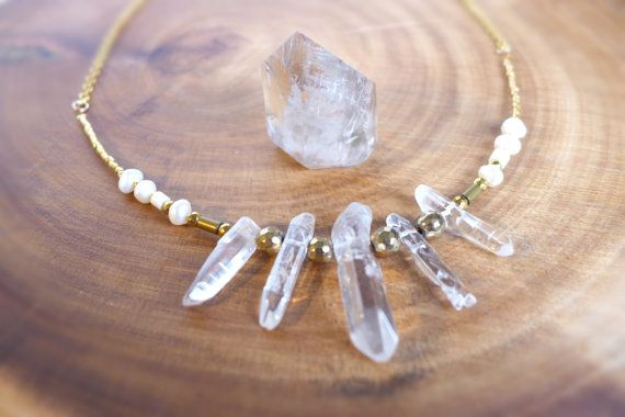 Crystal Quartz Necklace Crystal Necklace Gold by MohkiDesigns