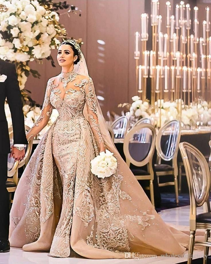 2019 Arabic Long Sleeves Lace Mermaid Wedding Dresses High