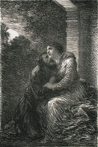 Henri de Fantin-Latour. Lohengrin: Act III - Scene d'Amour. One of 14 lithographs printed for <em>Richard Wagner, sa Vie et ses Oeuvres</em> written by Adolphe Jullien. Published by Librairie de l'Art, Paris, 1886. Lithograph. printed chine colle. Printed by Chez Lemercier. Reference: Hediard 66. 9 x 6 inches.