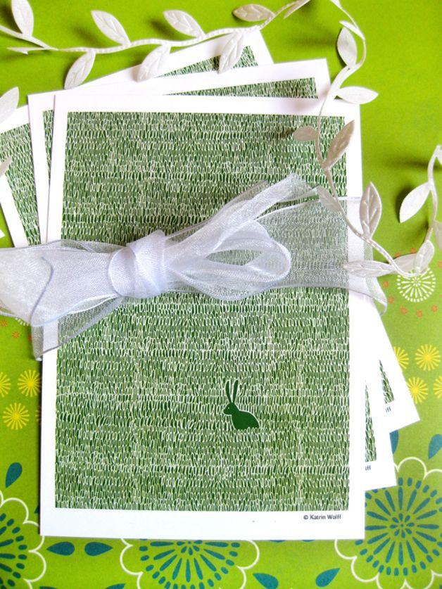 Postkarte Häschen grün made by kwolff – ausgefallene Mode für das tägliche Leben via DaWanda.com
