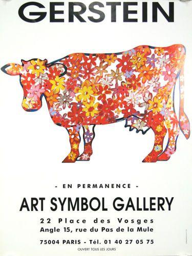 Affiche-expo-Gerstein-Art-symbol-gallery-Paris-Vache-laitiere-pop-fleurs
