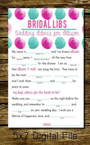 We love this bridal twist on the classic game of Mad Libs!   ---  The McBaileys Printable Bridal Shower Mad Libs, $6 on Etsy