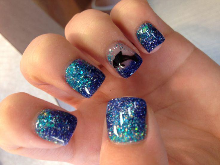 Tropical ombré seashell acrylic nails with dolphin