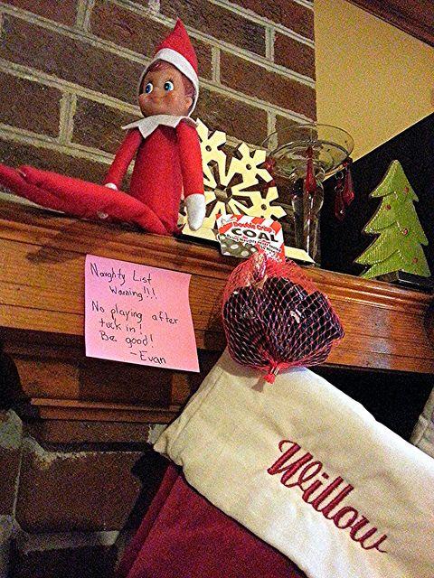 Elf on a Shelf - Naughty List Warning w/ coal candy.