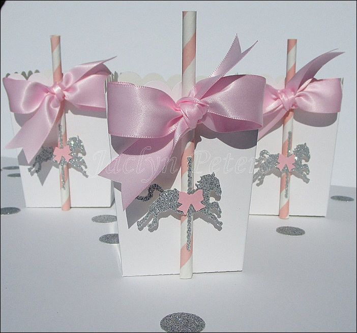 Carousel Party Favors Pink & Silver Glitter