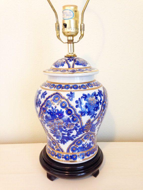 Vintage Chinese Blue White Gold Porcelain Ginger Jar Table ...
