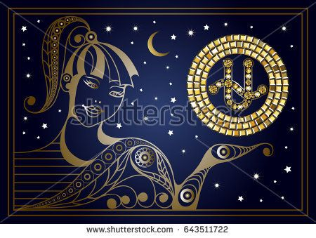 Decorative zodiac sign Ophiuchus. Horoscope and astrology, astronomy-symbol. Suitable for invitation, flyer, sticker, poster, banner, card, label, cover, web. Vector illustration.