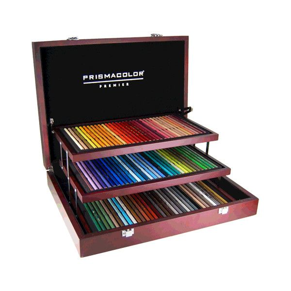 I've dreamed of this set my entire life....Prismacolor Premier Colored Pencil Wood Box Set of 96 | Rex Art Supplies (255 CAD) found on Polyvore