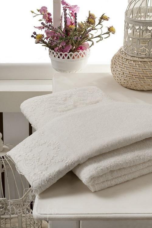Набор махровых полотенец с гипюром KARNA ELINDA кремовый (2шт) от Karna (Турция) - купить по низкой цене в интернет магазине Домильфо