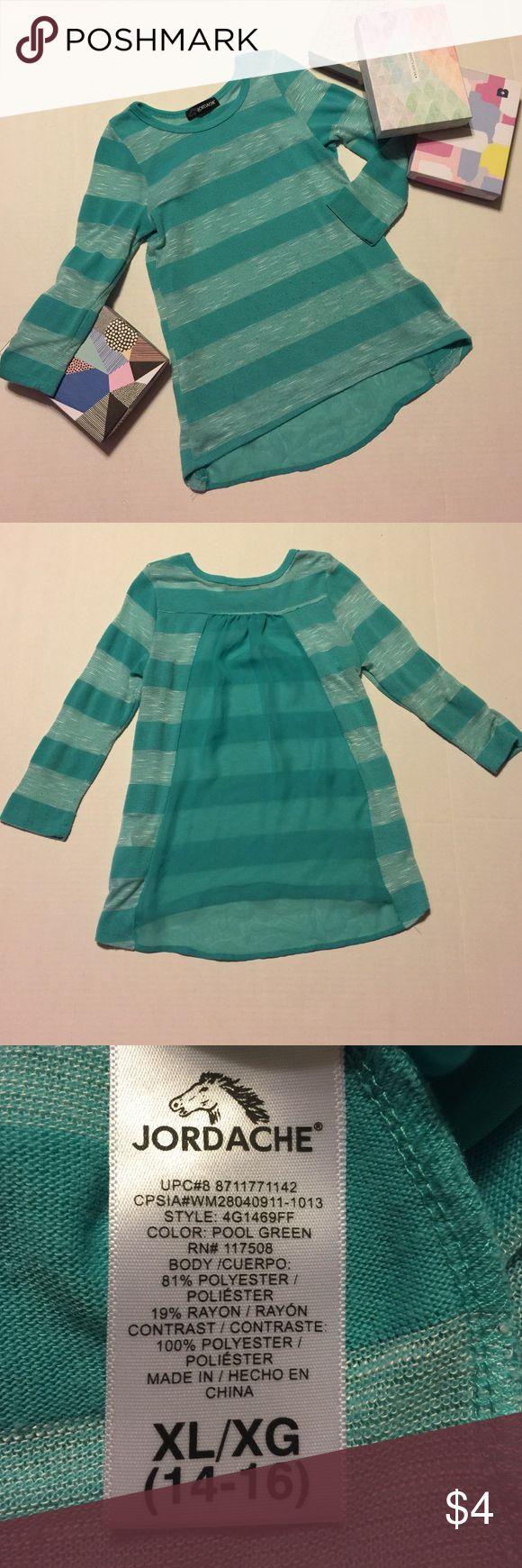 Turquoise girls long sleeve shirt. Size 14/16 Jordache girls long sleeve turquoise shirt. Size 14/16. Worn condition. Color still vibrant. Jordache Shirts & Tops Tees - Long Sleeve