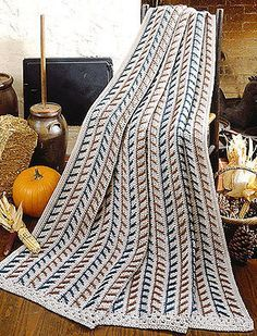 Harvest Gatherings Afghan ~ sharing my free pattern from Leisure Arts, which arrives every Friday in their Free Pattern Friday e-newsletter.  Anybody can sign up to receive it, if you don't mind also getting a couple of sales e-mails during the week.  No, I don't work for Leisure Arts  :-)  #crochet #blanket #throw