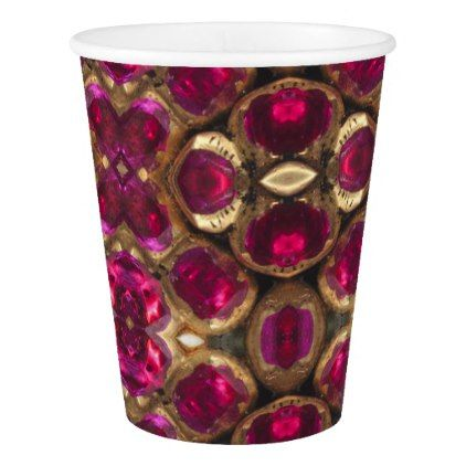 Ruby Gemstone Pattern 40th Wedding Anniversary Paper Cup - anniversary gifts ideas diy celebration cyo unique