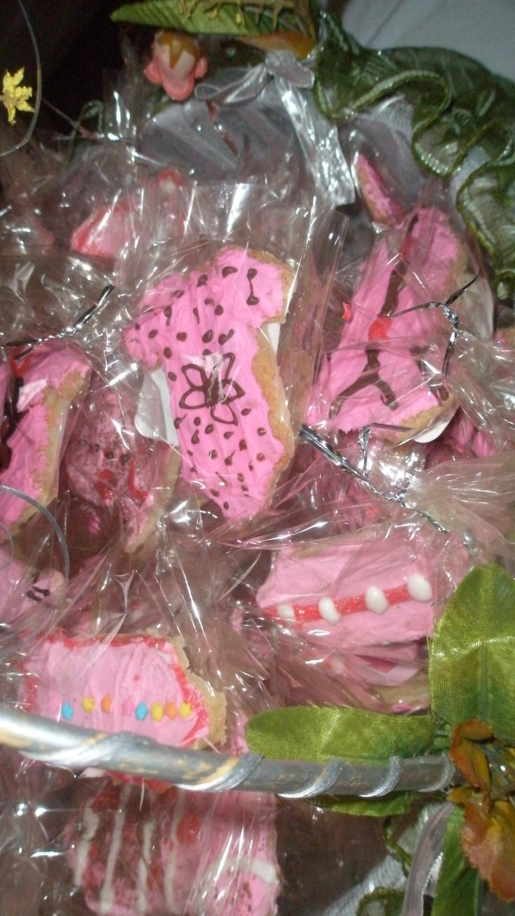 Baby shower idea - decorated sugar cookie onesie w/cream cheese frosting.