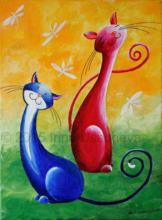 Original Cat Painting for Sale : Fantasy Cats Cats with