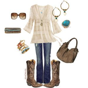 cute bohemian cowboyish: Style, Clothing, Shirts, Country Girls, Jeans, Fall Outfits, Cowboys Boots, Cowgirl Chic, Fall Fashion Trends