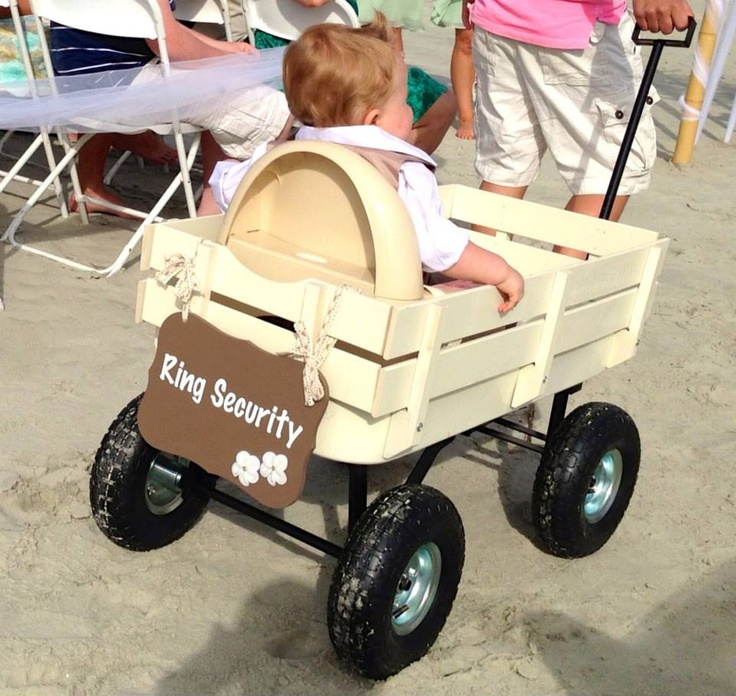 Ring bearer wagon and sign...a spray painted all-terrain wagon worked great!