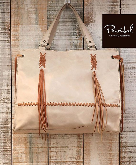 Cream leather bag oversize purse natural leather by Percibal