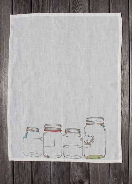 Cute for the kitchen! via Scout: Mason Jar tea towel