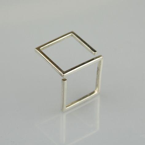ALANGOO - Contemporary Geometric S Silver Ring
