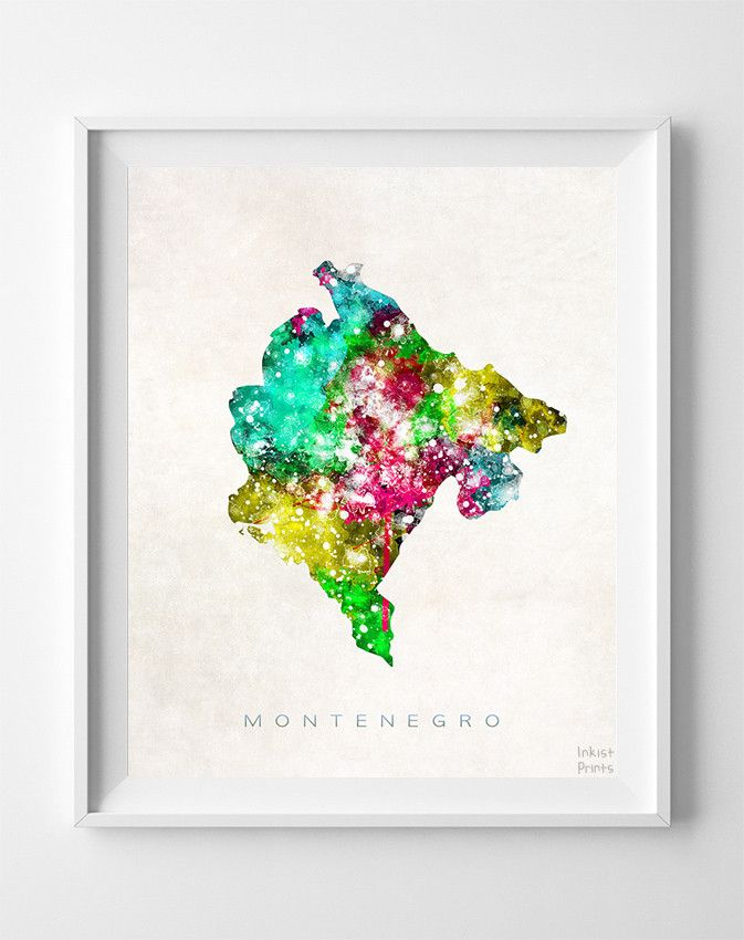 Montenegro Watercolor Map Print