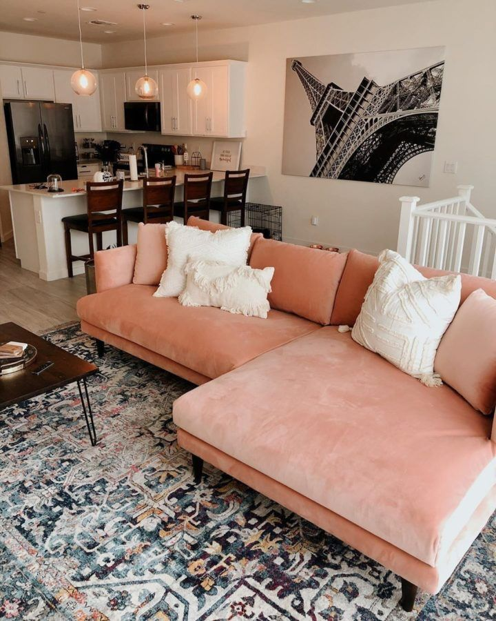 Step Outside Of The Comfort Zone Pink Sofa Living Room Ideas Decoholic In 2020 Home Living Room Decor Apartment Home Living Room