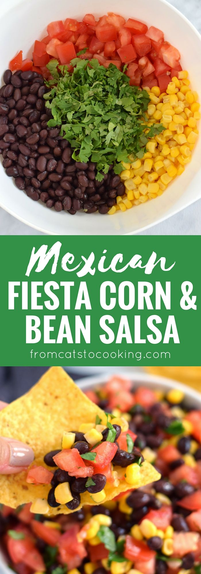 A super easy, bright and fresh Mexican Fiesta Corn & Bean Salsa recipe that takes only 10 minutes to make! Is gluten free, vegetarian, vegan and perfect for the spring and summer months. // isabeleats.com