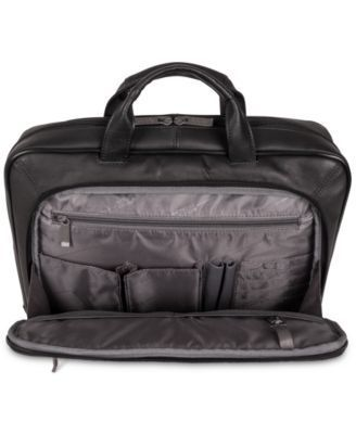 """Kenneth Cole Reaction """"Point of De-Port-Ure"""" Colombian Leather Laptop Briefcase - Brown"""