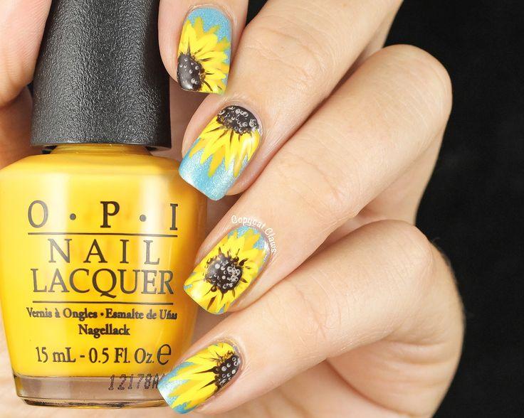 Day 3 - Yellow Nails -Sunflower Nail Art