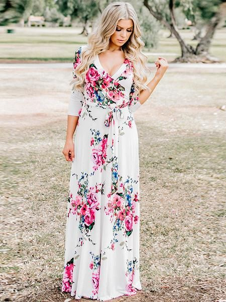 e30cf9533db LaceShe Women s V-Neck Irregular Long Summer Dress
