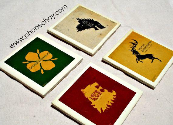 Game of Thrones coasters - Stark - Baratheon - Tyrell - Lannister on Etsy, $19.95