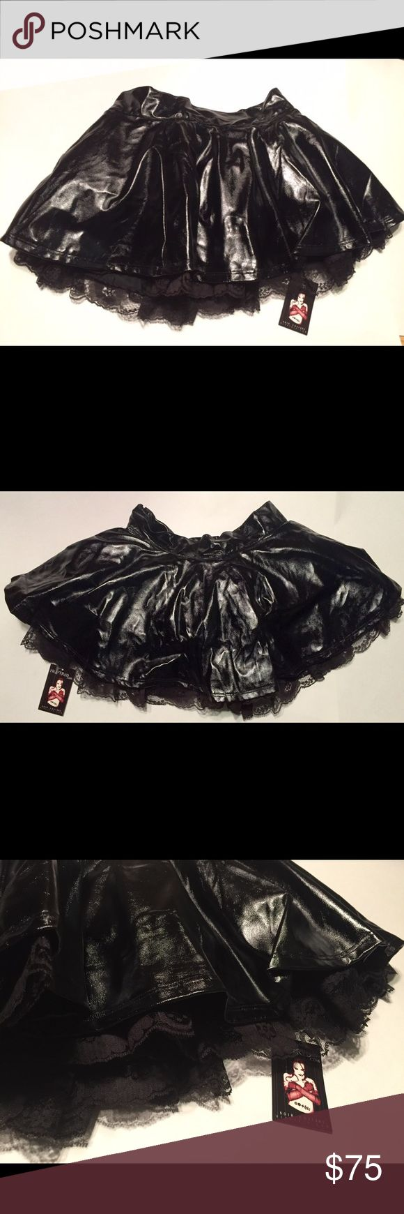 NWT Vintage Heavy Red Gothic Mini Ruffle Skirt S Never worn, circa Heavy Red Gothic early days (early 2000's)- tag on. This has been in storage, & is begging for a new goth home! This is a great piece, & like all HR items, the quality is killer.  Vegan leather top layer with ruffles & lace, hidden rear zip. Style number is PS-10, made in USA. HAND WASH. 14.5 in across waistband. 14-14.5 length. Fluffy, flouncy & uber sexy for the fetish cosplay Lolita club goth!  More items of a similar…