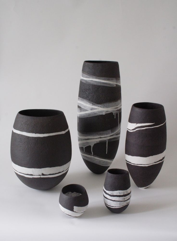 Contemporary Ceramics: Gabriele Koch High fire coarse black clay decorated with white porcelain.