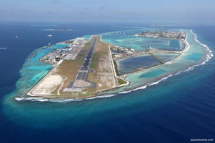 Ibrahim Nasir International Airport (Malé International Airport). Malé 24 Maldivas feito numa ilha artificial